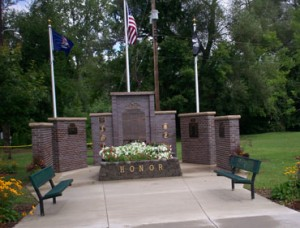 Memorial Wall Completed 2009, Cast Bronze Military Seals & Perpetual Bronze Plaques